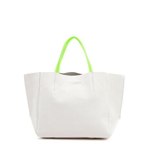 Женская кожаная сумка poolparty-limited-soho-white-green белая
